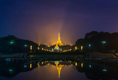 Shwedagon golden pagoda on night view Stock Photos