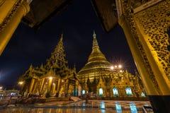 Shwedagon golden pagoda at night, Yangon,Myanmar Royalty Free Stock Photography