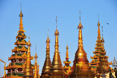 Shwedagon golden pagoda at twilight, Yangon Stock Photos