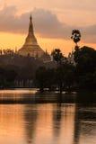 Shwedagon no por do sol Foto de Stock Royalty Free