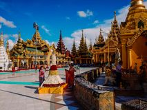 Shwedagon Pagoda-Yangon-Myanmar. The Shwedagon Pagoda in the city of Yangon in Myanmar Royalty Free Stock Photo