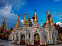 Shwedagon Pagoda-Yangon-Myanmar. The Shwedagon Pagoda in the city of Yangon in Myanmar Stock Photo