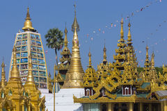 Shwedagon Pagoda Complex - Yangon - Myanmar. The Shwedagon Pagoda complex, officially titled Shwedagon Zedi Daw. In the city of Yangon in Myanmar (Burma Stock Image