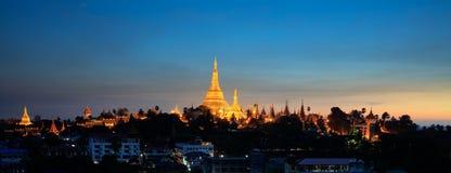Shwedagon pagoda at dusk, Yangon Stock Image