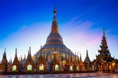 Shwedagon Pagoda. At dusk, Yangon Myanmar royalty free stock images