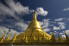 Shwedagon pagoda in the evening. With blue sky royalty free stock photos