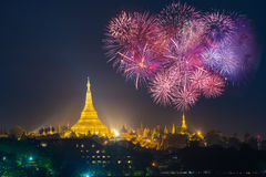 Shwedagon pagoda with with Fireworks celebration New year day 20. 17 in Yangon, Myanmar Stock Image