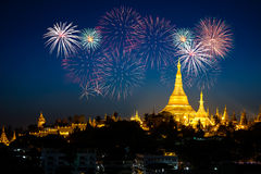 Shwedagon pagoda. With fireworks by night, Yangon Myanmar royalty free stock photo