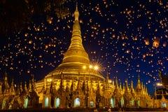 Shwedagon pagoda. With larntern in the sky, Yangon Myanmar Stock Image