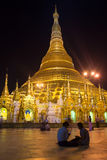 Shwedagon Pagoda in the late evening. Yangon, Myanmar Royalty Free Stock Images