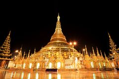 Shwedagon pagoda at night, Rangon,Myanmar Stock Image