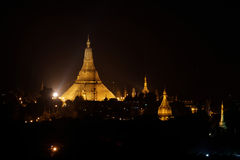 Shwedagon Pagoda by night Stock Photos