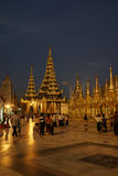 Shwedagon pagoda at night, Yangon, Myanmar Stock Photos