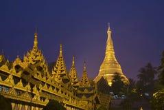 Shwedagon Pagoda Paya Temple. At night in Yangon, Myanmar, Burma royalty free stock images
