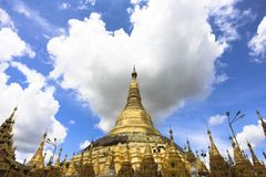 Shwedagon Pagoda prayer and travel attraction in city of Yangon Myanmar Asia.  Stock Images
