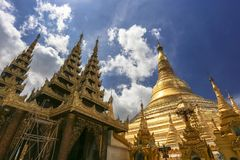 Shwedagon Pagoda prayer and travel attraction in city of Yangon Myanmar Asia.  Stock Image