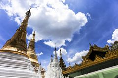 Shwedagon Pagoda prayer and travel attraction in city of Yangon Myanmar Asia.  Stock Photos