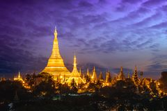 Shwedagon pagoda. At sunset, Yangon Myanmar stock photography
