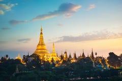 Shwedagon pagoda. At sunset,  Yangon Myanmar Stock Images
