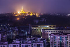 Shwedagon Pagoda Temple beautiful sunset in Yangon Royalty Free Stock Photos