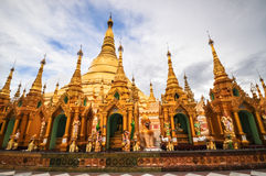 Shwedagon Pagoda Temple shining in the beautiful sunset in Yango Royalty Free Stock Photos