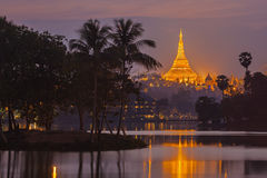 Shwedagon Pagoda in twilight Royalty Free Stock Photos