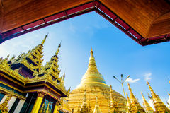 Shwedagon pagoda in Yagon, Myanmar.  Royalty Free Stock Photos