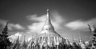 Shwedagon pagoda in Yagon, Myanmar. Shwedagon pagoda in B&W, Yagon, Myanmar stock image