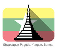 Shwedagon Pagoda, Yangon, Burma, landmark flat icon design. Background is Burma national flag Stock Photo