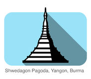 Shwedagon Pagoda, Yangon, Burma, landmark flat icon design. Shwedagon Pagoda, Yangon, Burma, famous landmark flat icon design Royalty Free Stock Photo