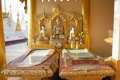 Shwedagon Pagoda, Yangon, Myanmar. Buddha images in the temple located in the courtyard and around the Shwedagon Pagoda, a gilded stupa located in Yangon Royalty Free Stock Image