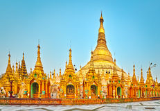 Shwedagon pagoda in Yangon. Myanmar. Panorama Royalty Free Stock Photos