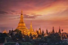 Shwedagon Pagoda. Yangon, Myanmar view of Shwedagon Pagoda at dusk Stock Photo