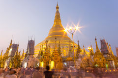 Shwedagon-Pagode an der Dämmerung, Rangun, Myanmar Lizenzfreie Stockbilder
