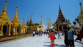 Shwedagon pagodterritorium, Yangon, Myanmar arkivfilmer