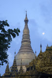 Shwedagon Paya and the Moon Royalty Free Stock Photo