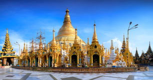Shwedagon Paya pagoda Myanmer famous sacred place and tourist attraction landmark. Royalty Free Stock Image
