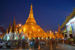 Shwedagon Paya temple in Yangoon. Most sacred and biggest buddhist temple in Myanmar Stock Images