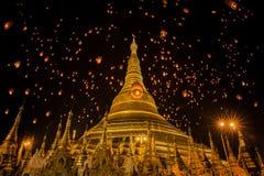 Shwedagon temple in Yangon. Golden Pagoda in Burma, Shwedagon temple in Yangon, Myanmar, lantern, yeepeng, yee peng royalty free stock photo