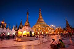 Shwedagon Under Twilight, Myanmar Stock Images