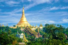 Shwedagonpagode in Myanmar Birma royalty-vrije stock afbeeldingen