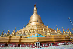 Shwemawdaw Paya Pagoda with the blue sky. Shwemawdaw Paya places in Bago or Pegu Myanmar is the biggest Pagoda in Myanmar stock images