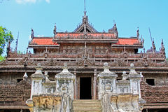 Shwenandaw修道院,曼德勒,缅甸 库存照片