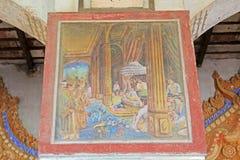 Shweyattaw Buddha Pavilion Painting, Mandalay, Myanmar. Shweyattaw Buddha Pavilion is located on the middle of the Mandalay Hill Stock Photo