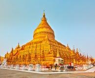 Shwezigon pagoda in Bagan. Myanmar. Panorama Royalty Free Stock Photography