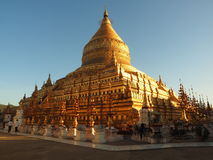 Shwezigon pagoda in sunlight Royalty Free Stock Photography