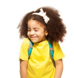 Shy African Girl With White Bow, Closed Eyes Stock Photo