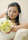 Shy asian bride Stock Photos