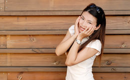 Shy Asian modern lady Stock Photography