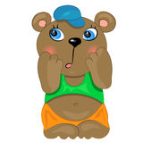 Shy baby boy. cartoon baby bear Royalty Free Stock Image